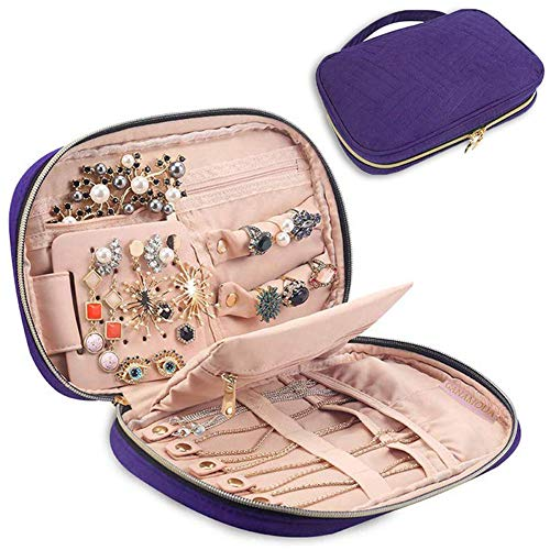 GANAMODA Jewelry Travel Organizer Bag, Portable Traveling Jewelry Case for Earrings, Necklace, Rings, Watch, Bracelets, Soft Padded for Protection, Purple