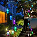 ZXICH Wind Chimes Outdoor Solar,Hanging Lamp Wind Bell,Changing Color Waterproof Wish Bottle Patio Garden Yard Decoration Wind Spinners Lights,Party Night Home Decor Gifts for Kids,Sister,Mom,Grandma