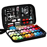 Bomoya Juego de 98 piezas de costura con bolsa portátil accesorios de costura, agujas e hilos para máquina de coser para el hogar y adultos, mini kits de costura para bricolaje