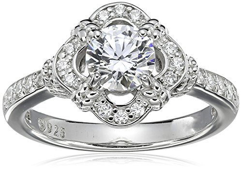 Platinum-Plated Sterling Silver Swarovski Zirconia Antique Frame Halo Ring