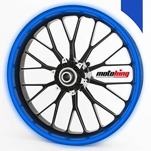 Motoking Autocollants pour Jante à 360 en réfléchissante Bleu foncé/Largeur de 15 mm/de 15 à 18 Pouces/Couleur et Taille au Choix