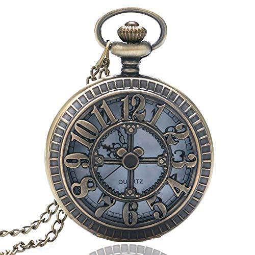 ZJZ Reloj de Bolsillo de Cuarzo Hueco con número Vintage para Hombres, Mujeres, Collar, Colgante, Relojes, Regalo