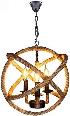 de cuerda Lámpara rústica Liunce de cáñamo americana Lámpara dQrCsxhtBo