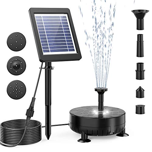 Solar Fountain Pump, 3.5W Solar Water Pump Floating Fountain Built-in 1800mAh Battery, with 7 Nozzles, LED Lights, Filtration Box, 10ft High Lift, for Bird Bath, Fish Tank, Pond or Garden Decoration