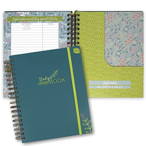 Boxclever Press Budget Book. Libro de cuentas, contabilidad y caja. Budget Planner con bolsillos para gestionar finanzas personales. Planificador de ahorro doméstico. Mide 24,5 x 22,5cm (Teal)