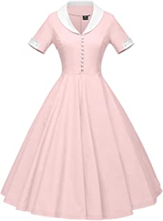 Womens 1950s Cape Collar Vintage Swing Stretchy Dresses