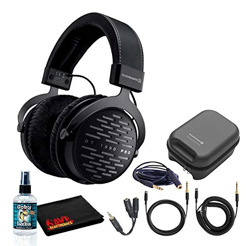Beyerdynamic DT 1990 Pro Open Studio Reference Headphones 250 Ohm Bundle with Hard Case, Splitter, Cleaning Kit, and 1-Year Extended Warranty