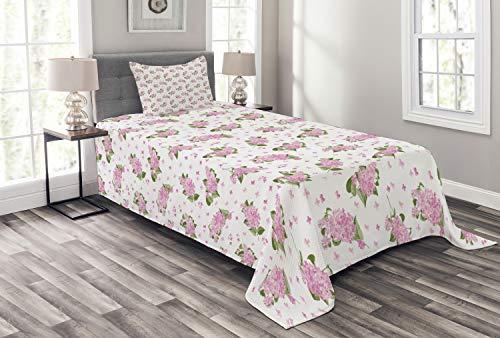 ABAKUHAUS Mauve Tagesdecke Set, Blumen-Muster-Landhausstil, Set mit Kissenbezügen Waschbar, für Einzelbetten 170 x 220 cm, Grün Rosa