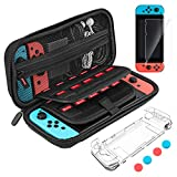 Carrying Case for Nintendo Switch, LaluceNatz Hard Shell Pouch Travel Game Bag with 20 Game Cartridges, Screen Protector, Clear Case, 4 Thumb Grip Covers for Nintendo Switch Accessories