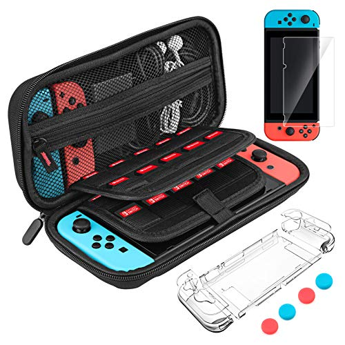 Carrying Case for Nintendo Switch, LaluceNatz Portable Hard Shell Pouch Travel Game Bag Box with 20 Game Cartridges, 2 Pack Screen Protector, 4 Thumb Grip Covers for Nintendo Switch Accessories