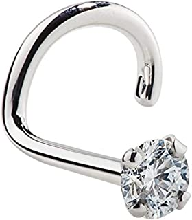 FreshTrends Diamond Nose Stud 14K White Gold Nose Ring Twist Screw 20 Gauge I1 Clarity