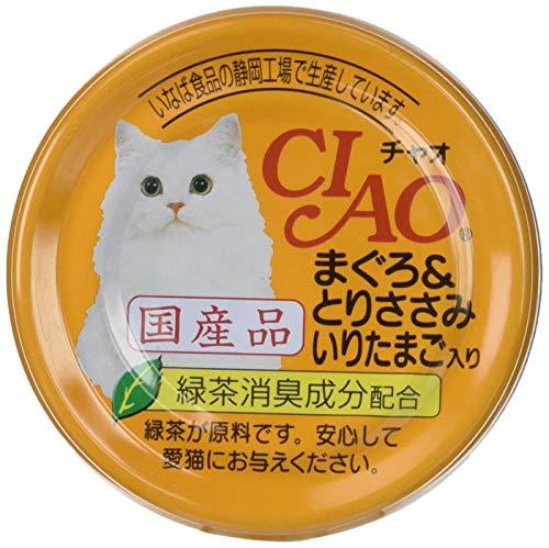チャオ (CIAO) キャットフード まぐろ&ささみ いりたまごいり 85g×24缶 (まとめ買い)