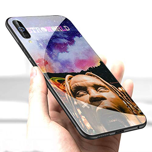 Luxury Cover for Samsung Galaxy A10 Phone Case,9H Tempered Glass Back Cover Soft Silicone Anti Scratch Bumper Design LC-91 Travis Scott astroworld Protective Case