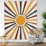 Finduat Boho Vintage Sun Tapestry Retro 70s Rainbow Minimalist Geometric Grunge Abstract Art Print Boho Wall Hanging Bohemian Decor for Dorm Living Room Bedroom( 59.1' x 51.2' )