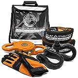 GearAmerica Off-Road Mega Kit de recuperación   Correa de remolque + Protector de árbol + Bloque Mega Snatch + Mega grilletes negros + Bolso amortiguador Winch Line + Guantes   Accesorios 4x4