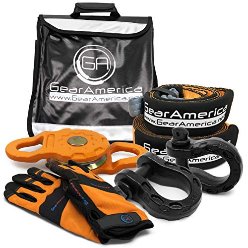 GearAmerica Off-Road Recovery Mega Kit | Tow Strap + Tree Saver + Mega Snatch Block Pulley + Black Mega D-Ring Shackles + Winch Line Dampener Bag + Recovery Gloves | Ultimate 4x4 Winching Accessories
