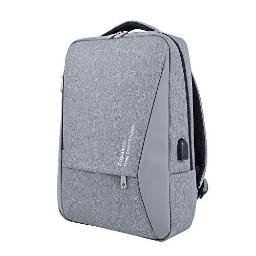 Segater® Business Laptop-Rucksack, Computerrucksack für 39,6 cm (15,6 Zoll) Laptop mit USB-Ladeanschluss, wasserabweisend, für Schule, Reisen, Arbeit, für Herren und Damen, grau (Grau) - SGBU080EU