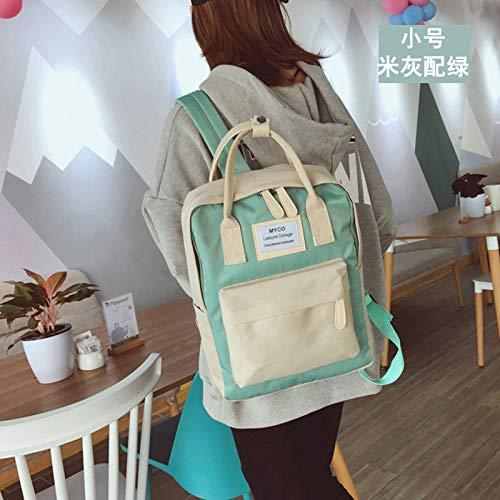 ASD Schultasche Mädchen Tasche weibliche Studentin Computer Tasche weibliche Umhängetasche einfache Wildreis grau mit grün klein
