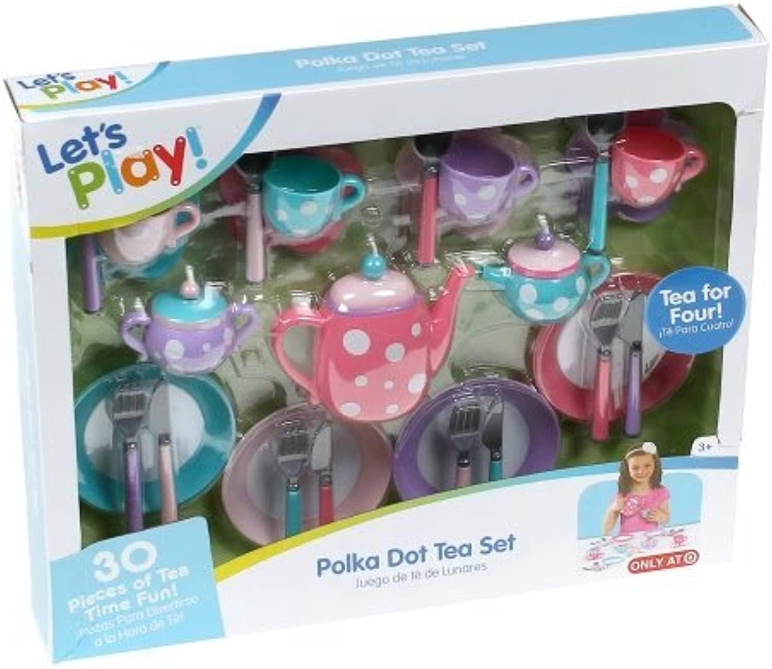 Polka Dot Tea Set 30 Piece by Lets Play