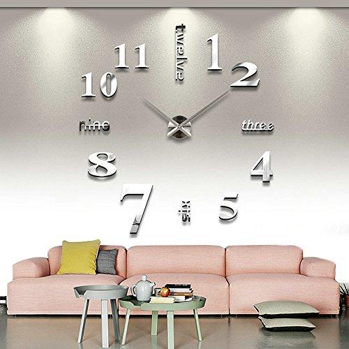 Orologio da Parete Fai-da-Te, 3D Adesivo Orologio Parete, Decorazione Facile da Montare Effetto 3D Riempire Vuoto Parete Moderno Adesivo Orologio Parete Decorazione per Casa, Ufficio, Hotel