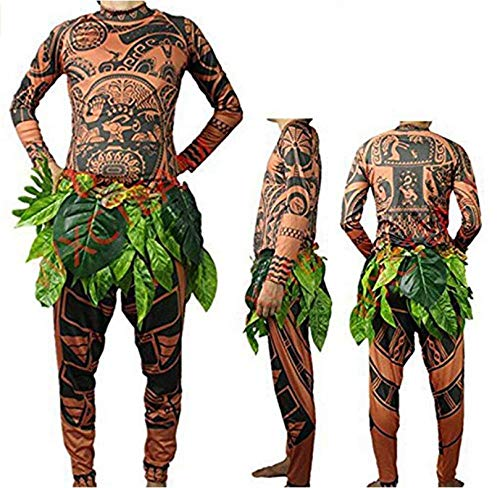 Maui Tattoo T-Shirt/Hose, Halloween, Erwachsene, Herren, Damen, Cosplay-Kostüm mit Blätterrock Vater L