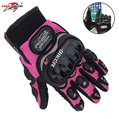 Bruce Dillon Knight Full Finger Small Size S Pink Orange Black Mujer Guantes de Moto Moto Race Pantalla táctil Femenina GL Clear S