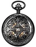 AMPM24 Steampunk Black Copper Case Skeleton Mechanical Pocket Watch...