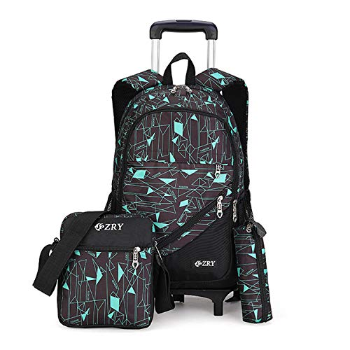 VBG VBIGER Kids Rolling Backpack Wheeled Backpack for Boys Girls 3pcs Rolling Luggage Backpack for School & Travel Six Wheels Trolley School Bags(Black-Blue)