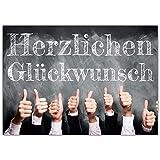 A4 XXL Glückwunschkarte DAUMEN HOCH mit Umschlag - edle Klappkarte