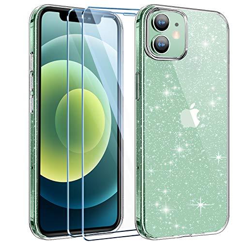 AROYI Hülle Kompatibel mit iPhone 12 Mini mit 2 Stück Panzerglas Liquid Transparent Glitzer Silikon Handyhülle, Transparent
