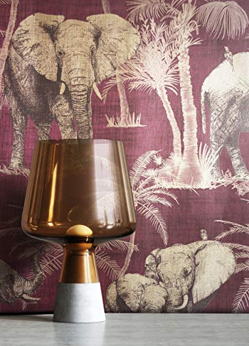 NEWROOM Tapete Tropical Palme Elefant lila Vliestapete gold Vlies moderne Mustertapete Tapete Blumentapete Modern inkl. Tapezier Ratgeber