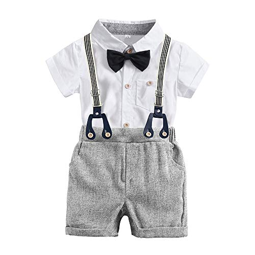 Toddler Baby Boys Gentleman Outfits Suits Toddler Infant Short Sleeve Shirt+Pants+Bow Tie Overalls Jumpsuit Clothes Set
