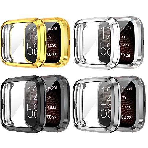 Yikamosi Screen Protector Compatible with Fitbit Versa 2,Soft TPU Full Coverage Protective Case Cover Compatible with Fitbit Versa 2/Versa 2SE,4PC(Gold,Silver,Black,Gray)