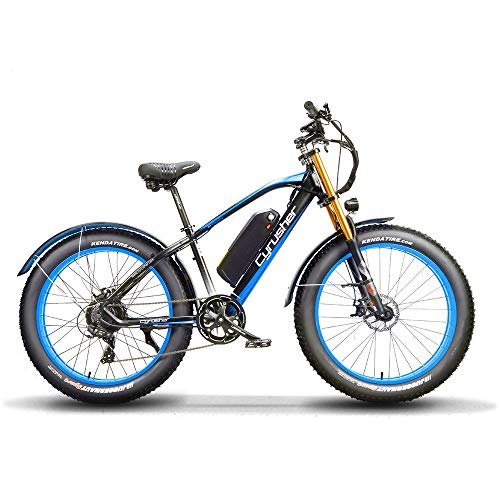 Extrbici 26 Pollici Ruota per Tutti i Terreni Grasso Bicicletta elettrica Bici in Alluminio Bici 48V 13AH Batteria al Litio Snow Bike 7 velocità (QIHANG 1000W, Nero Blu)