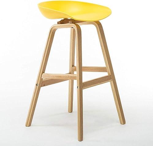 JZX Silla- Taburete de Bar Madera Maciza + PP Material Elegante Simplicidad Taburete de Bar Taburete Alto Taburete Alto para el hogar,B,amarillo