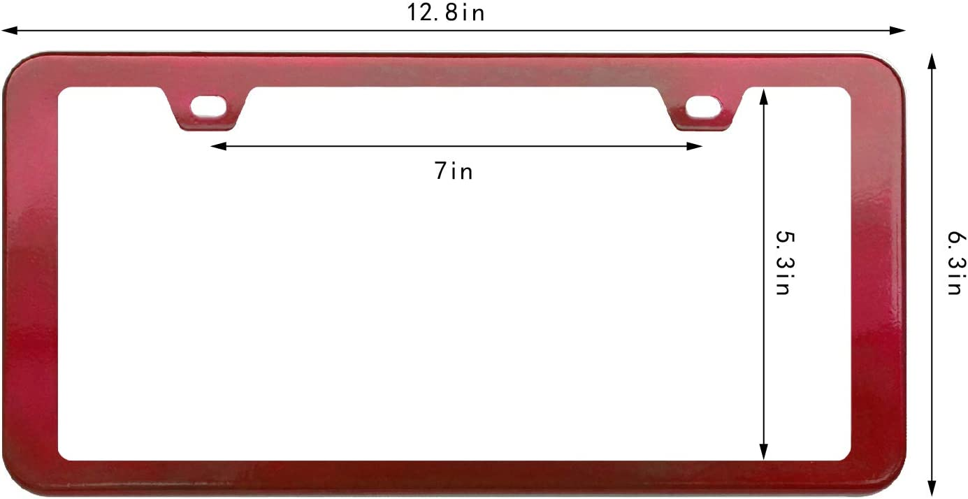 creathome 2PCs Stainless Steel License Plate Frames with Shining Blue Color