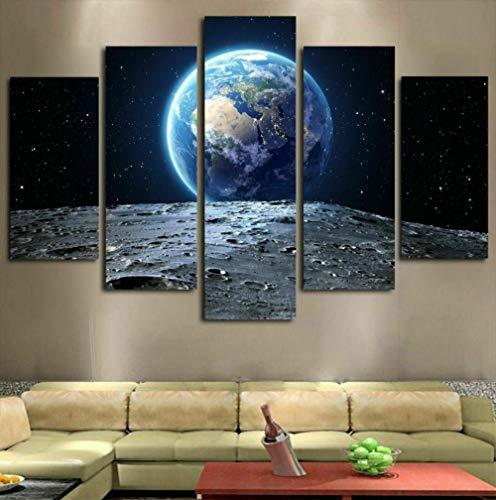 QWASD Tierra Vista Luna Espacio Cuadro En Lienzo 5 Piezas Imagen Impresión,Pintura Decoración 5 Piezas Cuadro Moderno XXL,150X80Cm,Murales Pared Oficina Decor