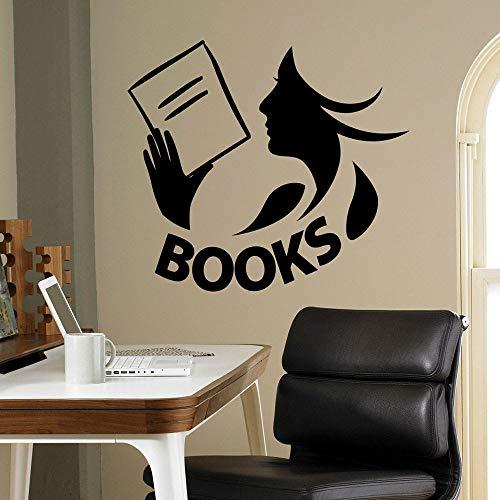 HFDHFH Libros calcomanías de Pared Biblioteca Sala de Lectura librería Dormitorio de los niños decoración de Interiores Puertas y Ventanas Pegatinas de Vinilo Lectura Chica Arte Mural