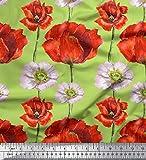 Soimoi Verde saten pesado Tela peonía y botón de oro floral estampada de tela por metro 54 Pulgadas de ancho