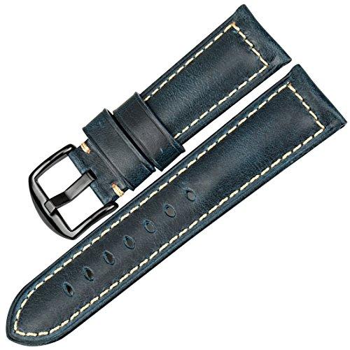 MAIKES Correa Reloj de Piel Replacement Reloj Banda 20 mm 22mm 24 mm 26mm Correa para Smartwatch para Hombre y Mujer (Band Width 19mm, Blue+Black Clasp)