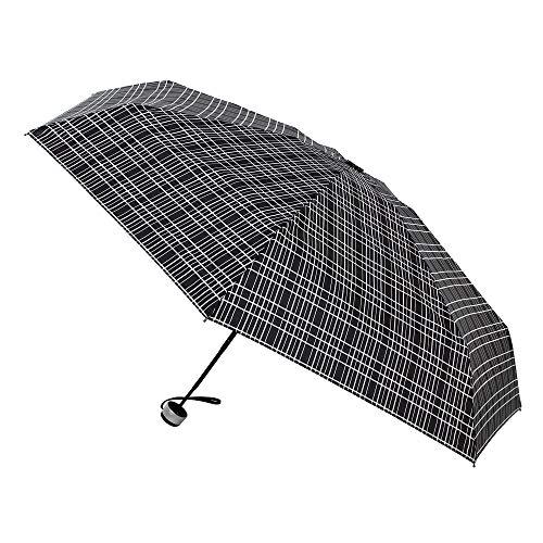 Paraguas Vogue. Paraguas Plegable. Pequeño y Ligero Llevar en la Mochila, en la Bandolera, en la Maleta. Elegante. Antiviento y Acabado teflón. (Negro líneas Blancas entrecruzadas)