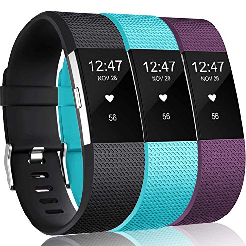 Wepro Bands Replacement Compatible with Fitbit Charge 2 for Women Men Small, 3 Pack Sports Watch Band Strap Wristband Compatible with Fitbit Charge2 HR Fitness Tracker, Plum/Teal/Black