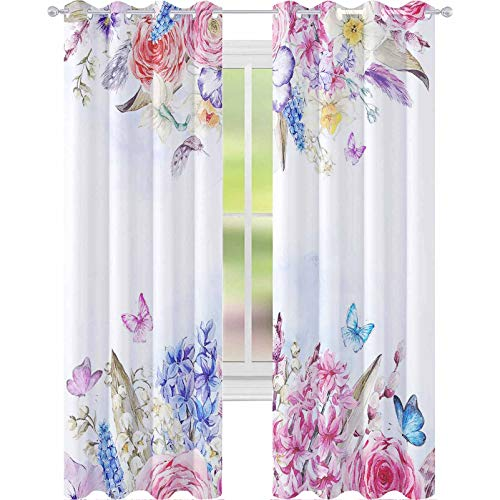 YUAZHOQI Blackout Curtains Watercolor Spring Greeting Card Vintage Flowers Bouquet Willow Lilies hyacinths muscari Daffodils ra 52' x 63' Blackout Drapes for Living Room