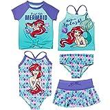 Disney Little Mermaid Toddler Girls 5 Piece Swim Set: Rash Guard One-Piece Tankini Bottom Skirt 2T