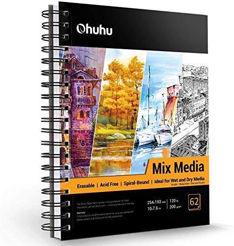 Almohadilla para medios mixtos, Ohuhu 254mm×193mm Cuaderno de bocetos de técnica mixta, papeles pesados 62 hojas / 124 páginas, bloc de papel encuadernado en espiral para pintura