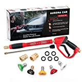 AURORA CAR High Pressure Washer Gun,40 Inch, 5000 PSI,with Replacement Wand Extension,5 Nozzle Tips Set,with 1/4'' Quick-Connect,M22 15mm or M22 14mm