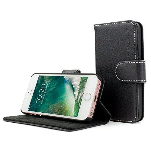Snugg Custodia iPhone Apple iPhone SE Cassa con Scomparti per Carte di Credito e Funzione di Supporto–tiefstes Nero, Legacy Range