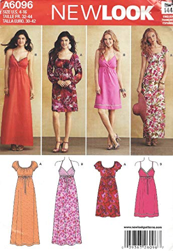 Simplicity New Look Pattern 6096 Misses Dresses with Length and Sleeve Variations Sizes 4-6-8-10-12-14-16
