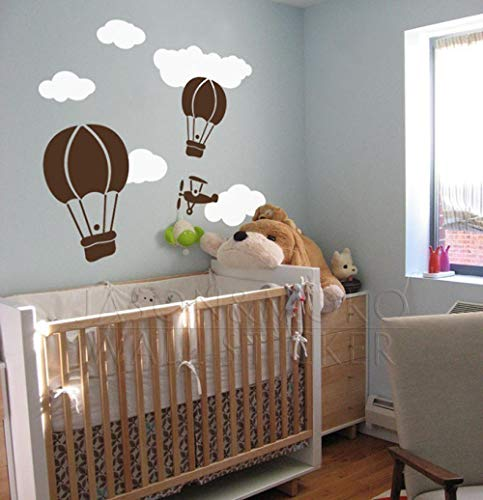Muursticker Hete lucht Ballon Luchtvaart Set-Vinyl muur Art Sticker Children's muurschildering Wallpaper Decoratie 60 * 90CM koeldier