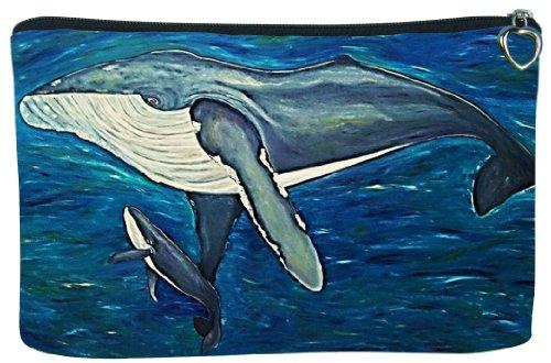 Whale Cosmetic Bag, Zip-top Closer - Taken From My Original Paintings (Humpback Whale - Elusive Intoner)